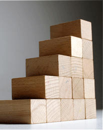 Wooden blocks arranged like stairs